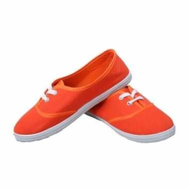 Goedkope oranje carnaval/feest schoenen/sneakers dames