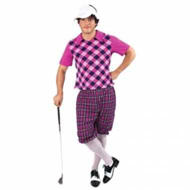 Golfers carnavalspak paars heren