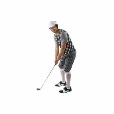 Golfers carnavalspak zwart/wit heren