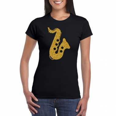 Gouden muziek saxofoon t shirt zwart dames saxofonisten carnavalspak