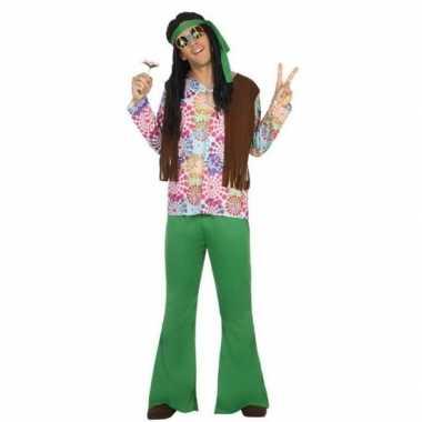 Groen hippie carnavalspak cirkels heren