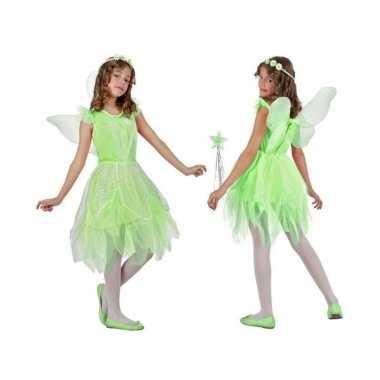 Groen toverfee/elf carnavalspak vleugels meisjes