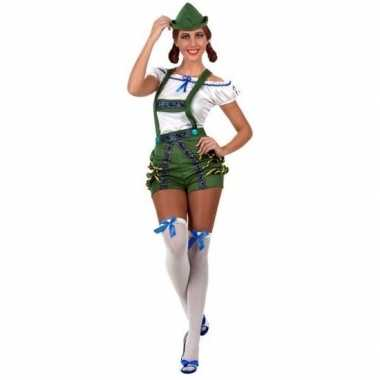Groen/witte oktoberfest lederhosen carnavalspak dames