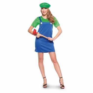 Groene loodgieter carnavalspak dames