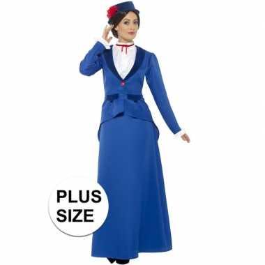 Grote maat blauw nanny carnavalspak dames