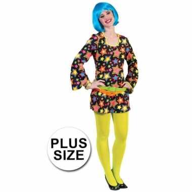 96cb98680bc Grote maat disco jurkje felgekleurde sterren | Carnavalswinkel ...