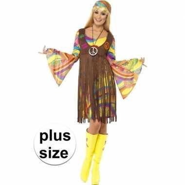 Grote maat hippie carnavalspak dames