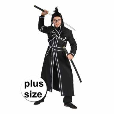 Grote maat zwart samurai verkleed carnavalspak heren