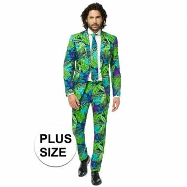Grote maten heren verkleedcarnavalspak juicy jungle business suit