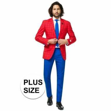 Grote maten heren verkleedcarnavalspak spiderman business suit