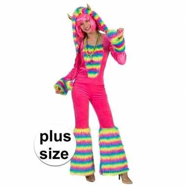 Grote maten roze regenboog monster carnavalspak dames