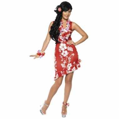 Hawaii carnavalspak jurkje rood bloemen