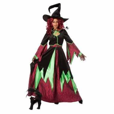 Heksen carnavalspaks rood/groen dames