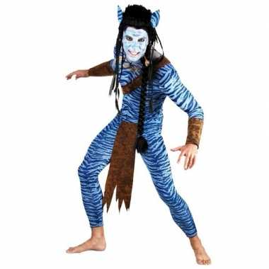 Heren carnavals pak blauwe jungle strijder