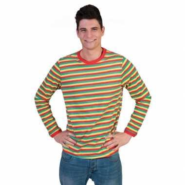 Heren shirt Dorus gestreept carnavalskleuren
