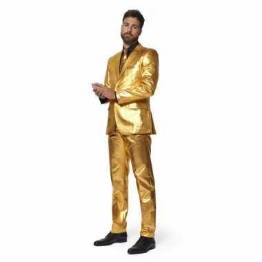 Heren verkleedcarnavalspak goud stropdas business suit