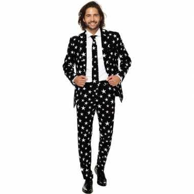 Heren verkleedcarnavalspak zwart witte sterren business suit