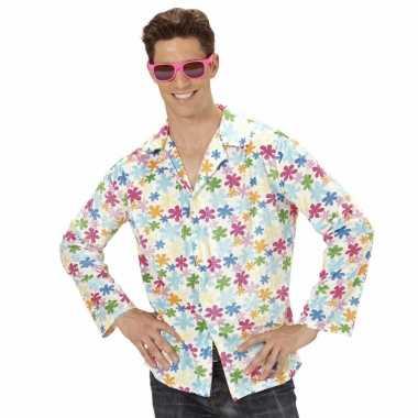 Hippie jaren carnavalspak overhemd wit heren