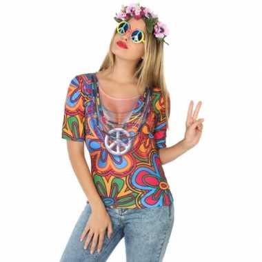 Hippie shirt verkleedcarnavalspak dames