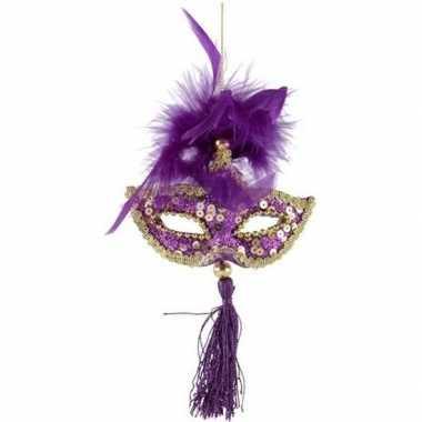 Kerst hangdecoratie paars/gouden carnavalsmasker