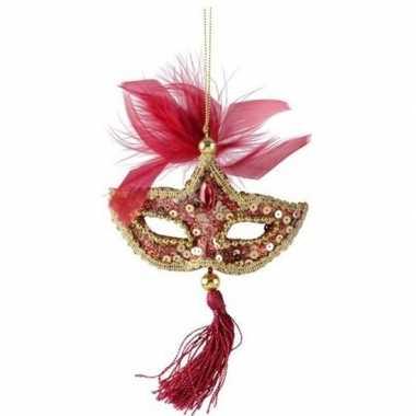 Kerst hangdecoratie rood/gouden carnavalsmasker