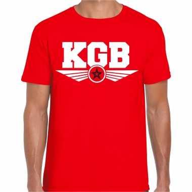 Kgb agent / geheim agent carnavalspak t shirt rood heren