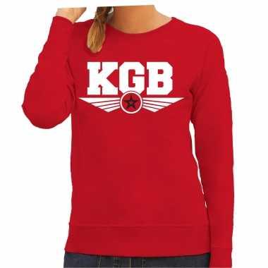 Kgb agente geheim agente carnavalspak trui sweater rood dames