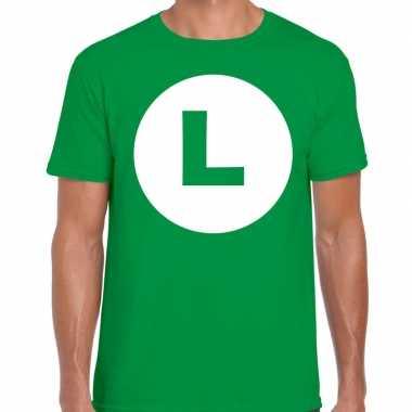 Luigi loodgieter carnaval verkleed shirt groen heren