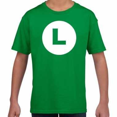 Luigi loodgieter carnaval verkleed shirt groen kinderen