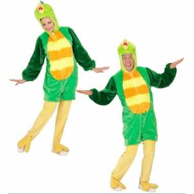 Luxe groene vogel carnavalspak volwassenen