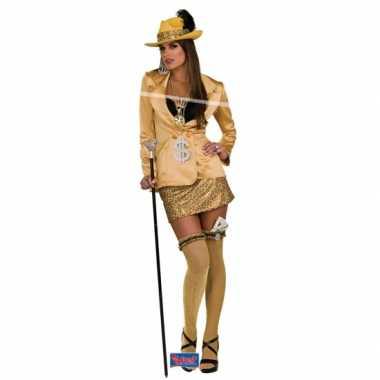 Madam carnavalspak goud volwassenen