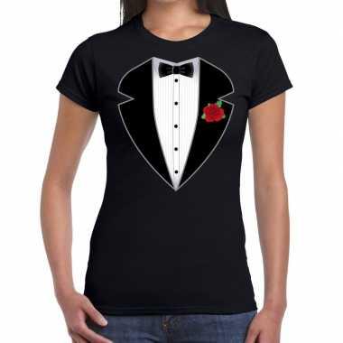 Maffiosi carnavalspak t shirt zwart dames