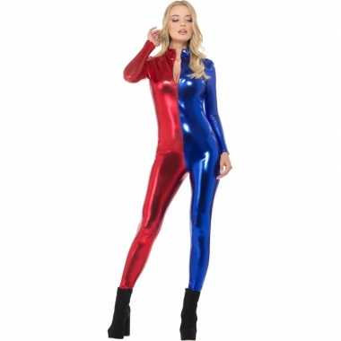 Metallic carnavalspak harlekijn blauw/rood