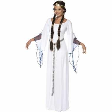 Middeleeuws toga wit carnavalspak dames