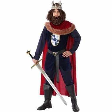 Middeleeuwse koning verkleed carnavalspak heren