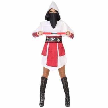 Ninja carnavalspak wit/rood dames