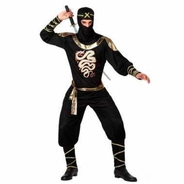 Ninja carnavalspak zwart/goud dames/heren