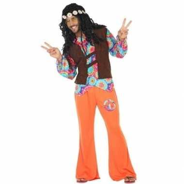 Oranje hippie carnavalspak cirkels heren