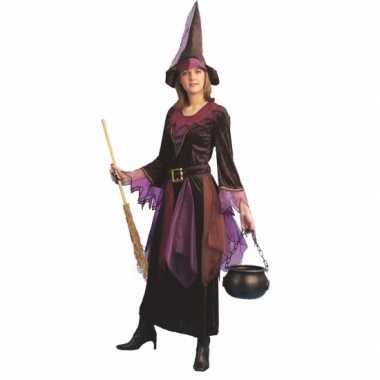 Paars heksen carnavalspak inclusief hoed