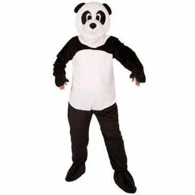 Panda beer carnavalspak groot pluche masker