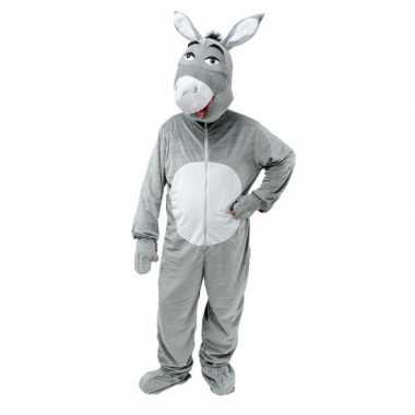 Pluche ezel carnavalspak grijs