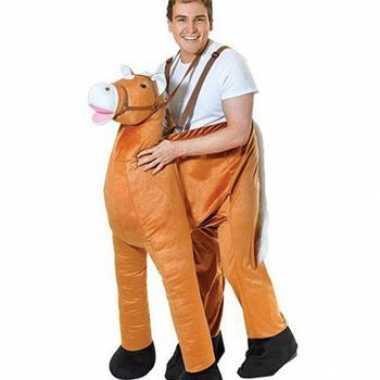 Pluche instap paard carnavalspak