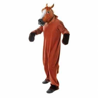 Pluche paarden carnavalspak volwassenen