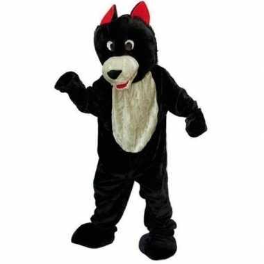 Pluche wolven carnavalspak zwart wit