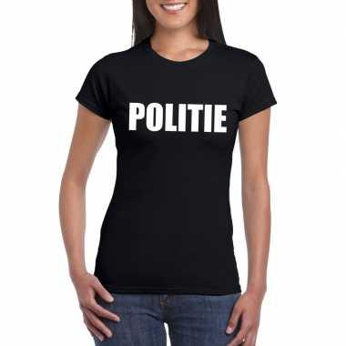 Politie carnaval t-shirt zwart dames