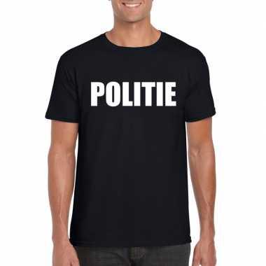 Politie carnaval t shirt zwart heren
