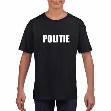 Politie carnaval t-shirt zwart jongens meisjes