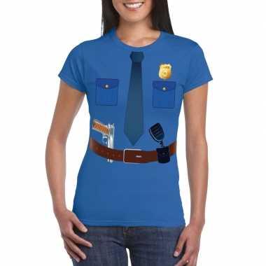 Politie carnavalspak t shirt blauw dames