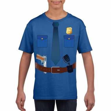 Politie carnavalspak t shirt blauw kinderen
