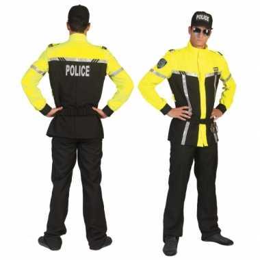 Politie carnavalspak zwart felgeel